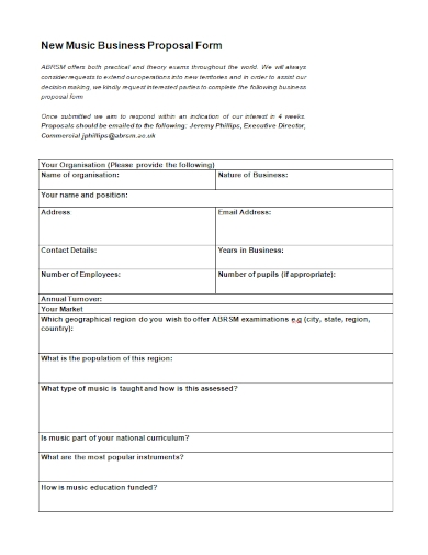 new music business proposal form