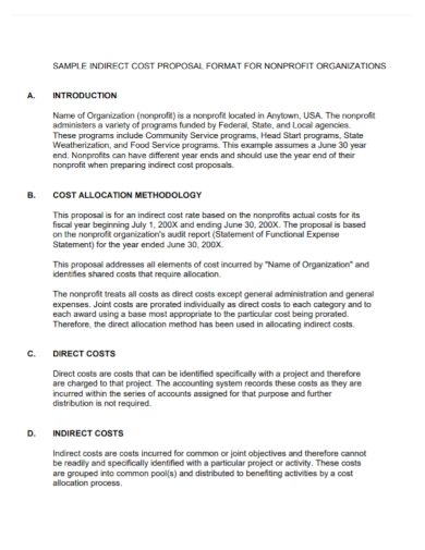 non profit organization cost proposal
