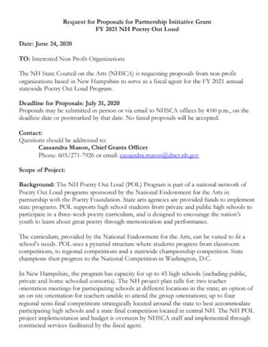 non profit partnership grant proposal