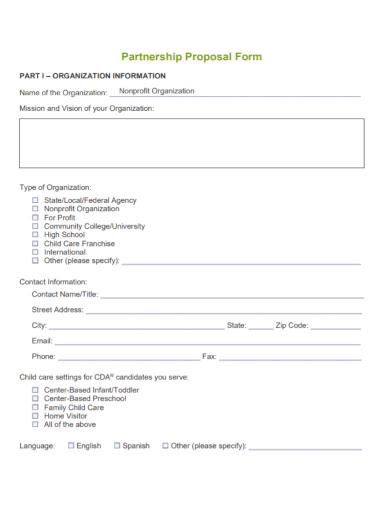 non profit partnership proposal form