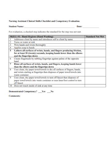 nursing assistant clinical skills checklist