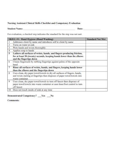 nursing competency evaluation checklist