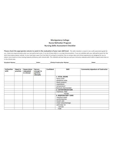 nursing skills assessment checklist