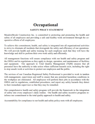 occupational safety policy statement