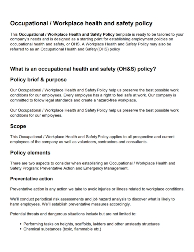 occupational workplace health and safety policy