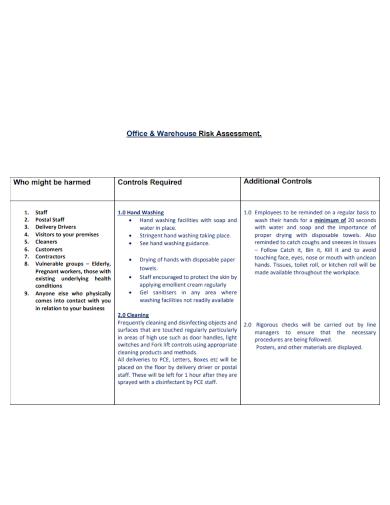 office warehouse covid risk assessment