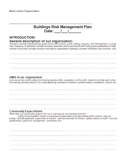 organisation buildings risk management plan