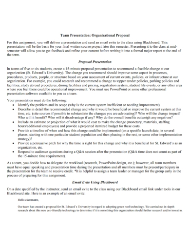organization team presentation proposal