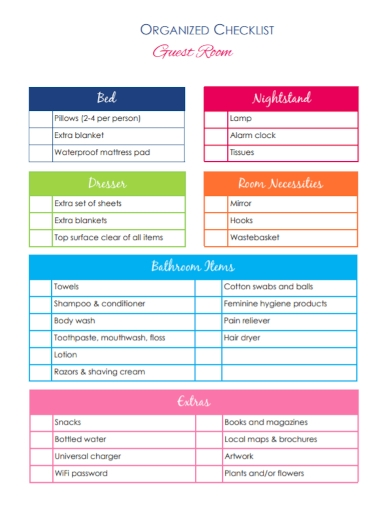 organized guest room checklist