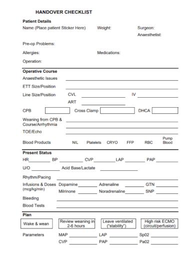patient handover checklist