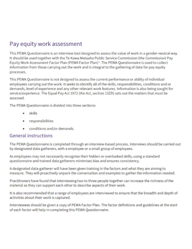pay equity work assessment