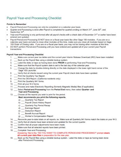 payroll year end processing checklist