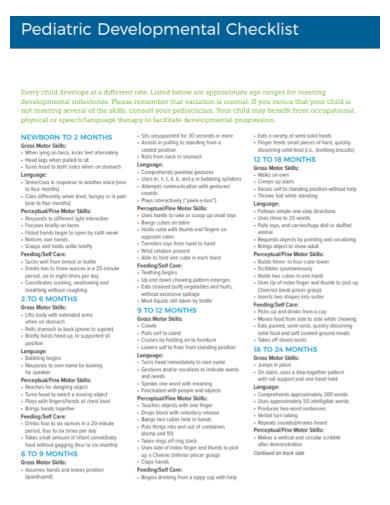 pediatric developmental checklist