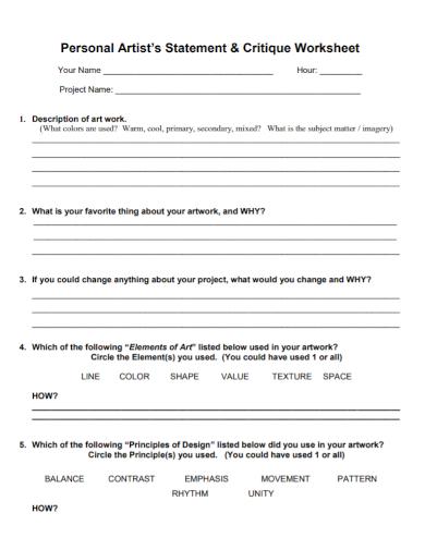 personal artist statement critique worksheet