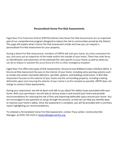 personalized home fire risk assessment