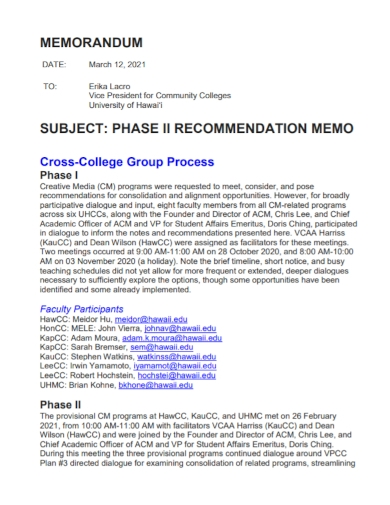 phase recommendation memo report