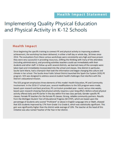 physical education health impact statement