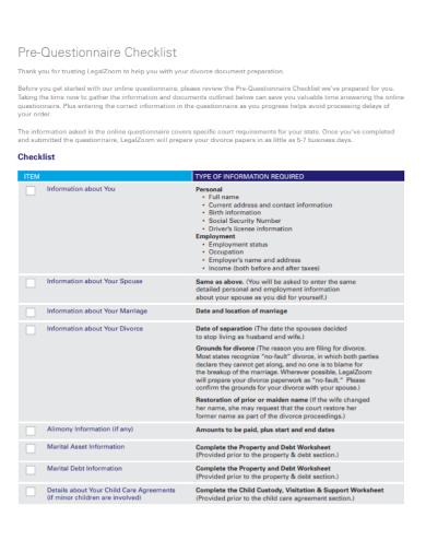 pre questionnaire checklist