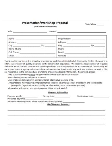 presentation workshop proposal