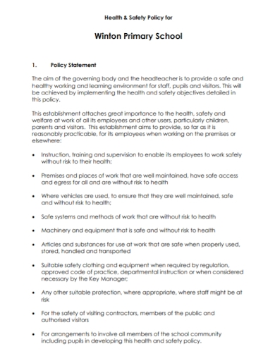 primary school health and safety policy