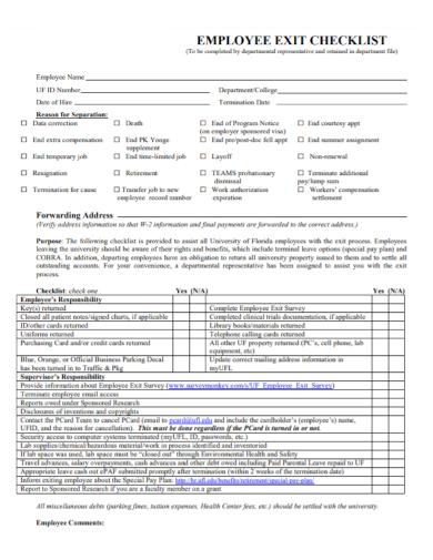 printable employee exit checklist
