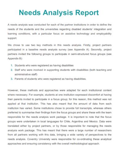 printable needs analysis report