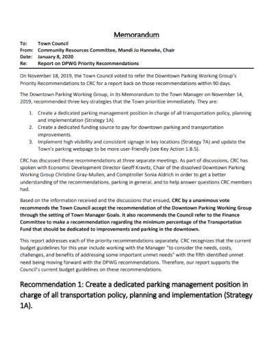 priority recommendation memo report