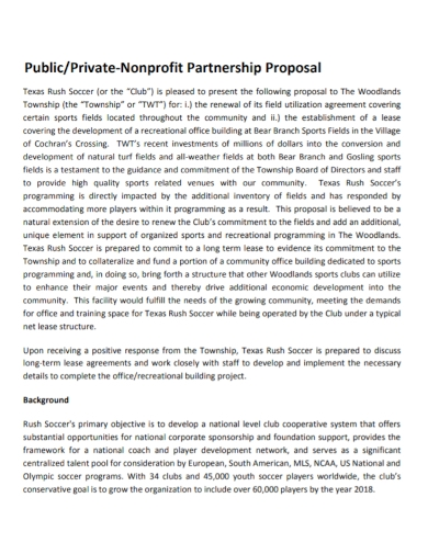 private non profit partnership proposal