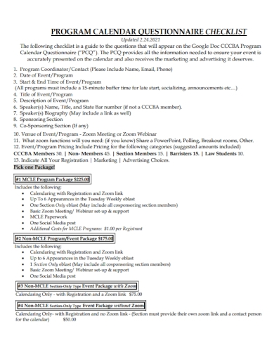 program calendar questionnaire checklist