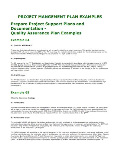 project management quality assurance plan