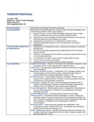 project manager tender proposal