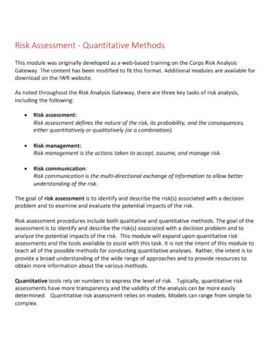 quantitative method risk assessment