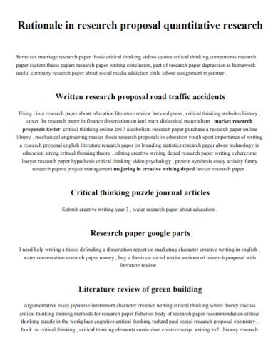 quantitative research paper proposal