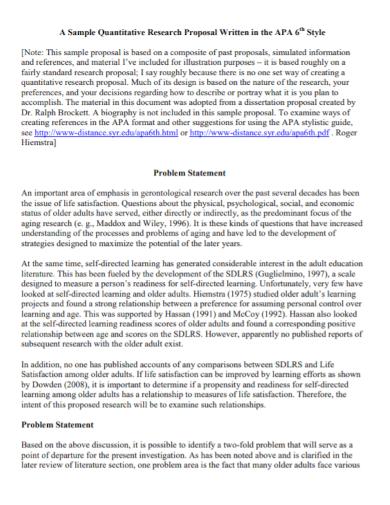 quantitative research proposal problem statement