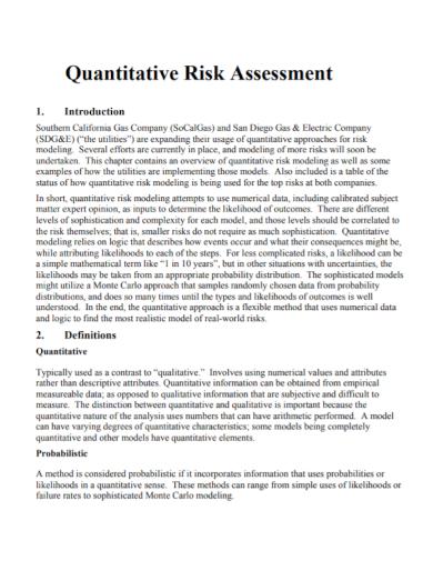 quantitative risk assessment