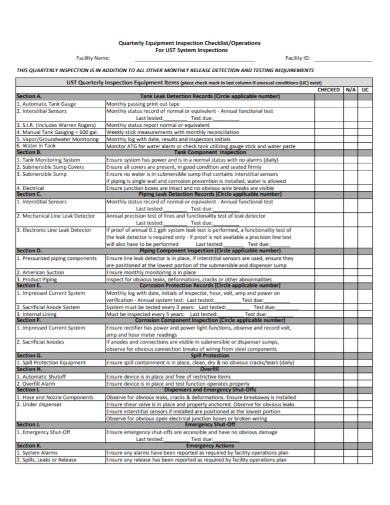 quarterly equipment inspection checklist