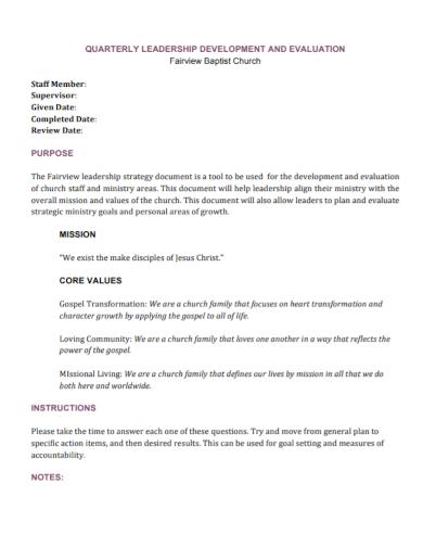 quarterly leadership development evaluation