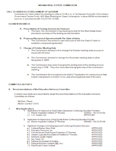 real estate business committee report