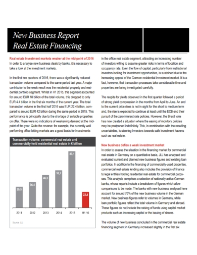 real estate financing business report