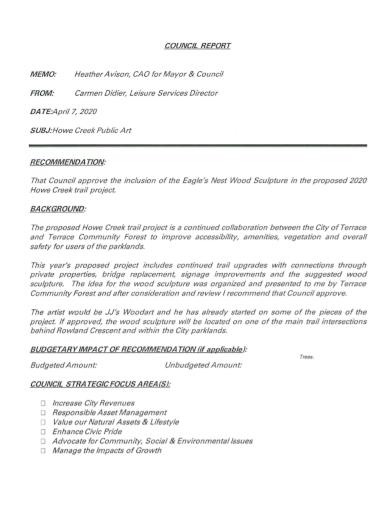 recommendation memo council report