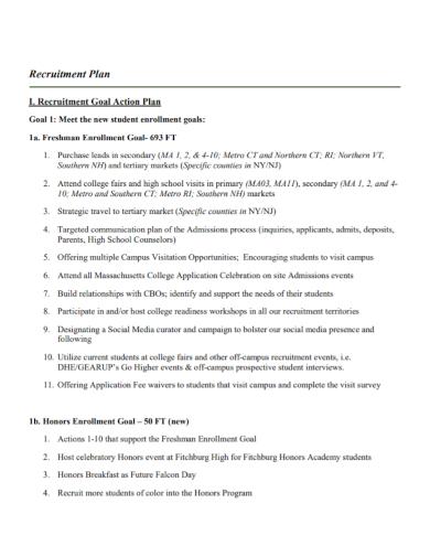 recruitment goal action plan