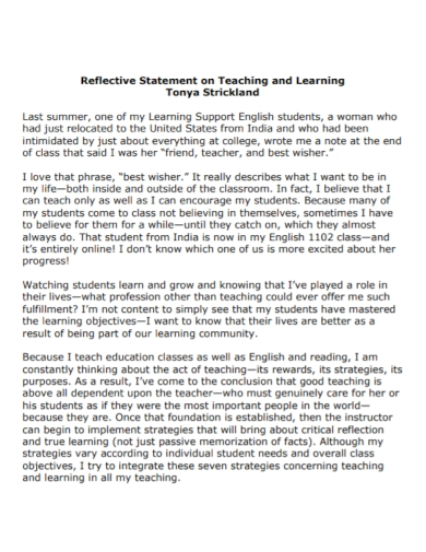 reflective teaching and learning statement