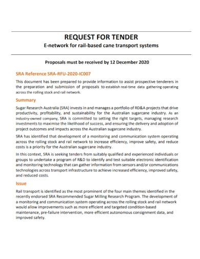 request for tender proposal