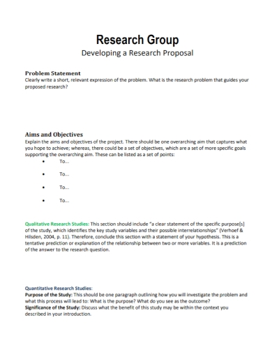 research group proposal problem statement