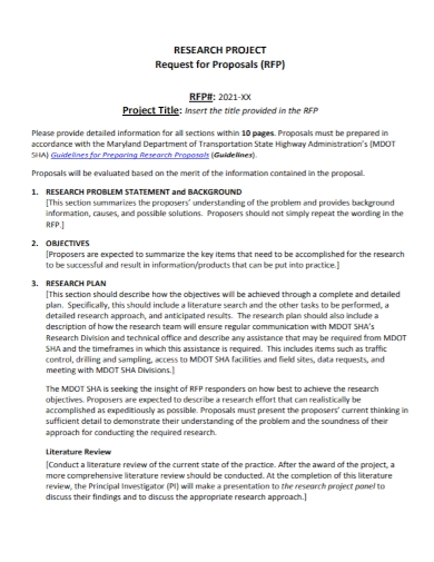 research project proposal problem statement