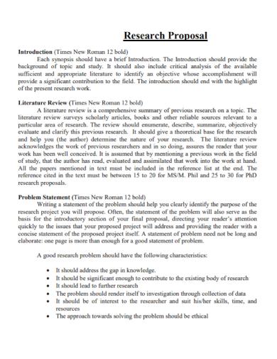research proposal literature problem statement
