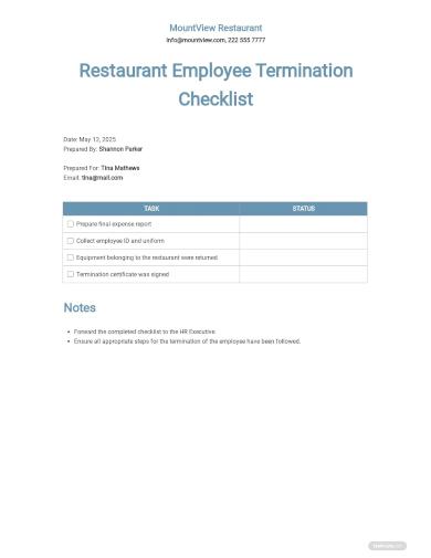 restaurant employee termination checklist template