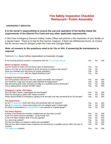 restaurant fire safety inspection checklist