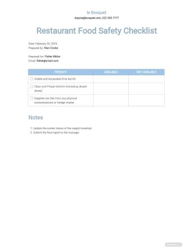 restaurant food safety checklist template
