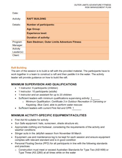 risk management plan for buildings